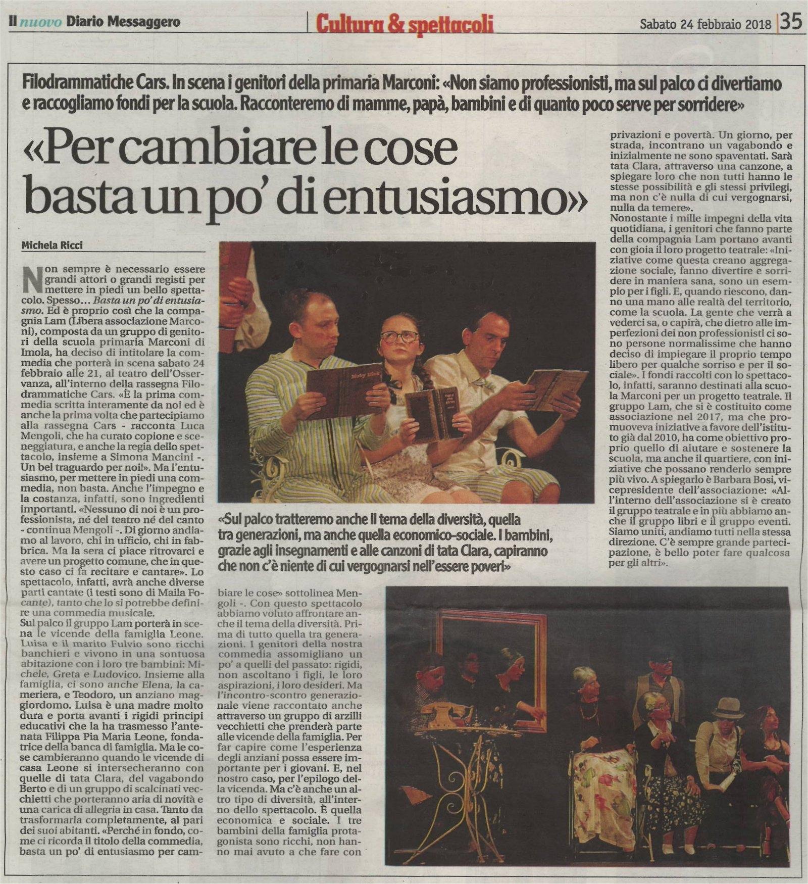 Articolo su Il Nuovo Diario Messaggero del 24 febbraio 2018